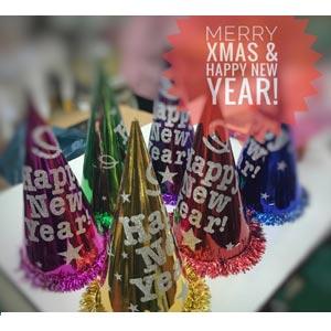 หมวกปีใหม่ แพ็ค 6 ชิ้น สูง happy new year