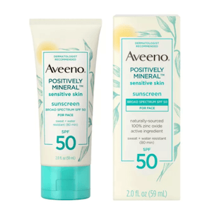 Aveeno Positively Mineral Sensitive Skin Sunscreen SPF 50 ครีมกันแดดอาวีโน่ สูตรอ่อนโยน