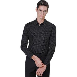 S'FARE เสื้อเชิ้ตเข้ารูป BLACK Cotton Print Shirt (Slim Fit) Model SB